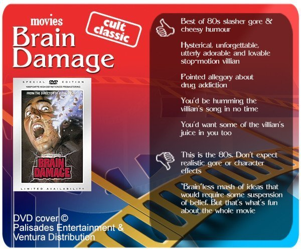 Brain Damage movie review. 5 thumbs up and 2 thumbs down.