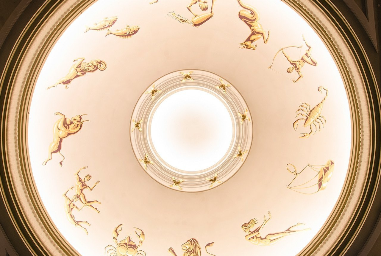 Capitol Theatre ceiling dome, with illustrations of the Zodiac.