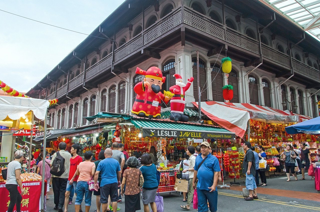 Singapore Chinatown Cai Shen and Santa