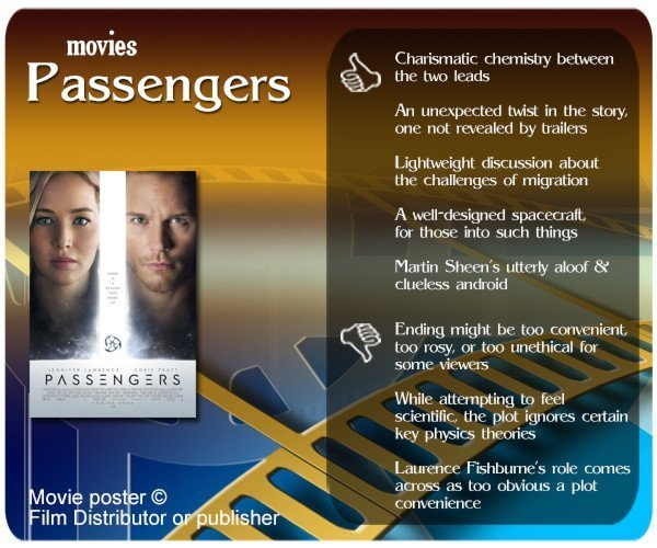 Passengers movie review. 5 thumbs up and 3 thumbs down.