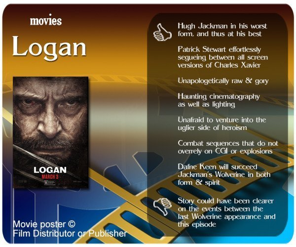 Logan review - 7 thumbs up and 1 thumbs down.