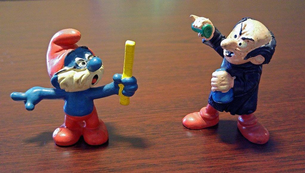Papa Smurf and Gargamel
