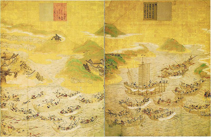 Historical painting of the Battle of Dan-no-Ura.