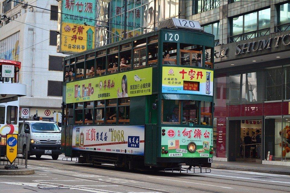 Hong Kong double-decker tram.