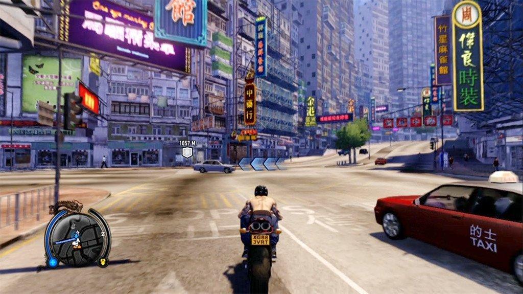 Sleeping Dogs shirtless Wei Shen on Motorbike.
