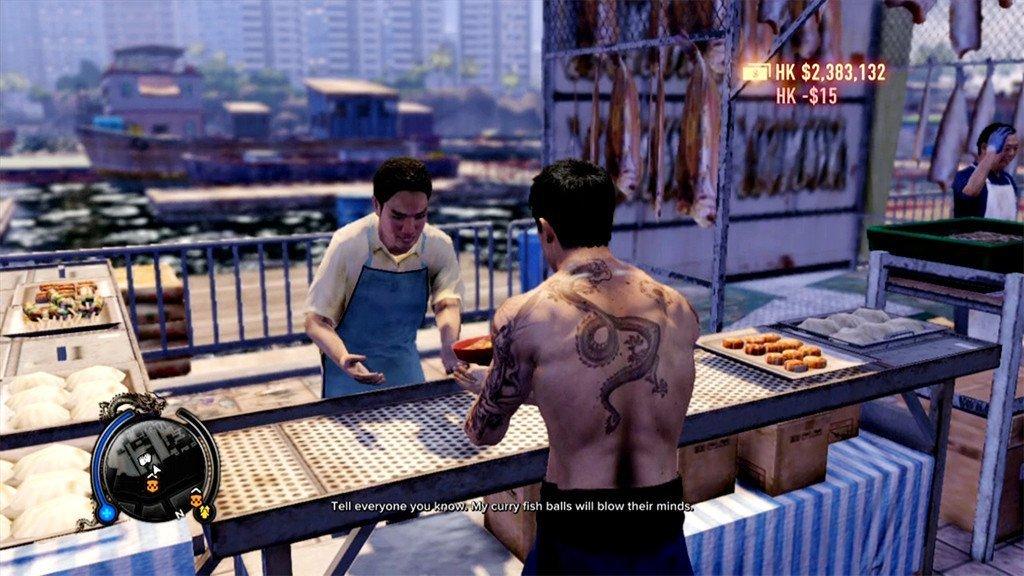 Wei Shen buying curry fish balls.