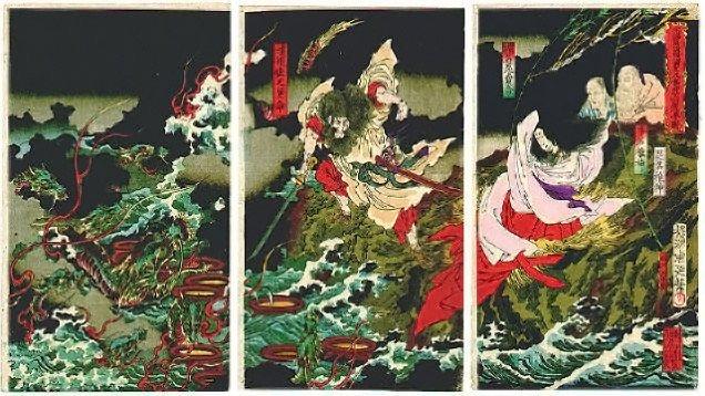 Shinto Myths -  Susanoo slaying Orochi.