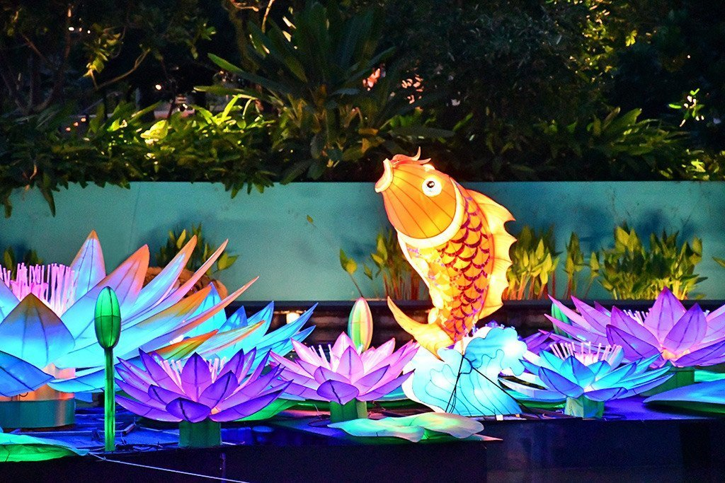 Auspicious carp lantern at Gardens by the Bay, Singapore
