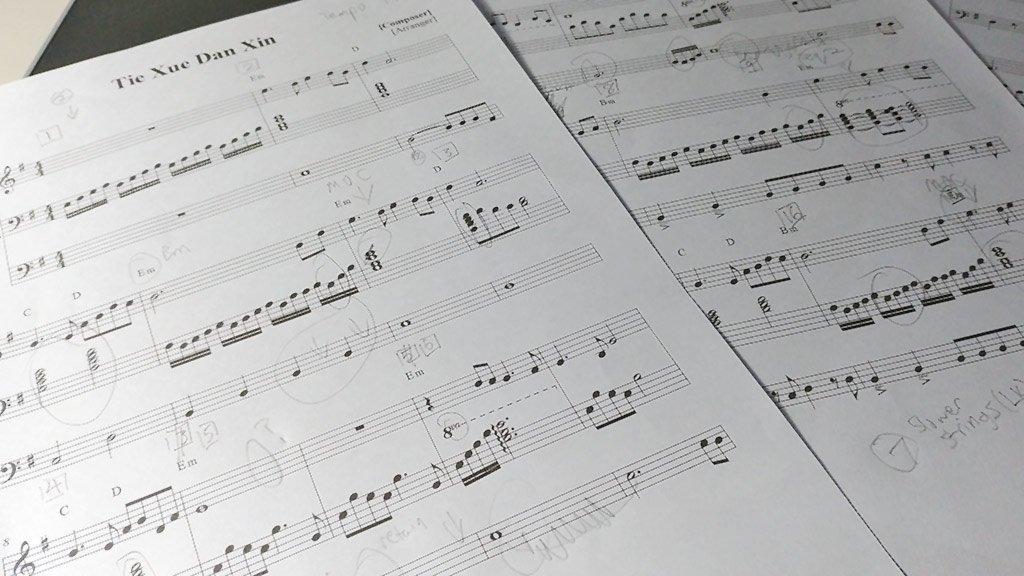 Electone arragement draft for 鐵血丹心