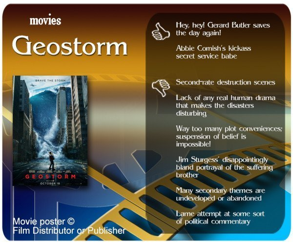 Geostorm review - 2 thumbs up and 6 thumbs down.