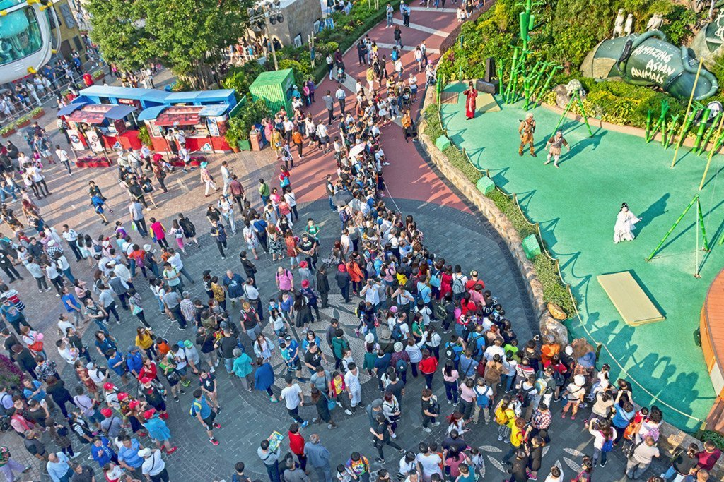 Ocean Park Hong Kong weekend crowd.
