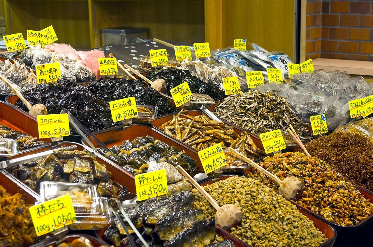 Japanese preserved foods and spices at Nishiki Market.
