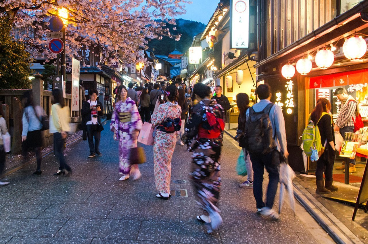 Kyoto Matsubara Dori During Sakura Season.