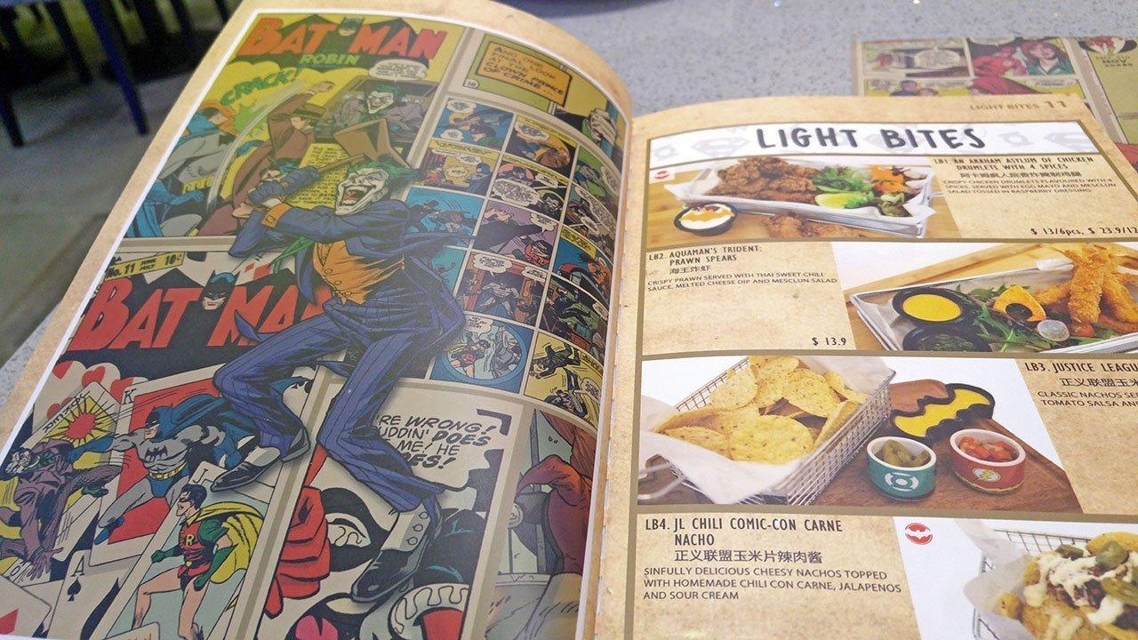 DC Super Heroes Cafe Takashimaya Menu.