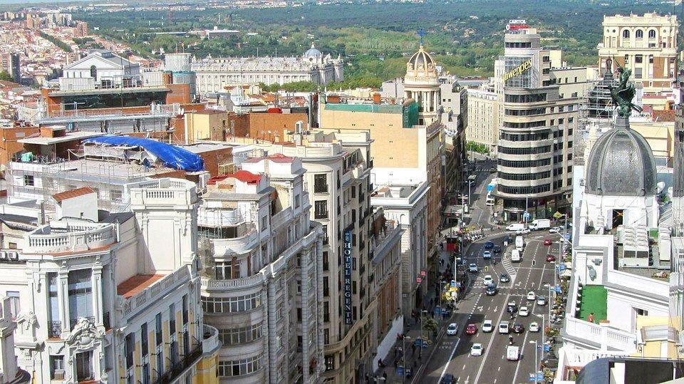 Madrid Gran Via Aerial View.