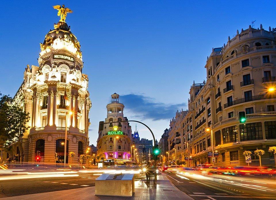 Madrid Metropolis Building Junction evening shot.