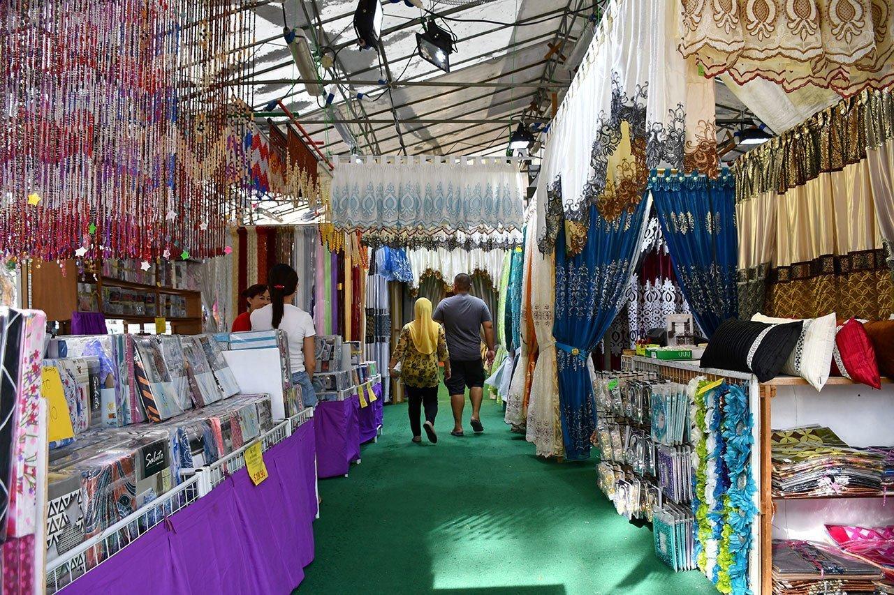 Curtains on sale at Geylang Serai Festive Market.