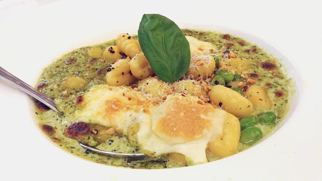 Gnocchi Edamame Hazelnut Pesto at Brunetti Tanglin Mall.