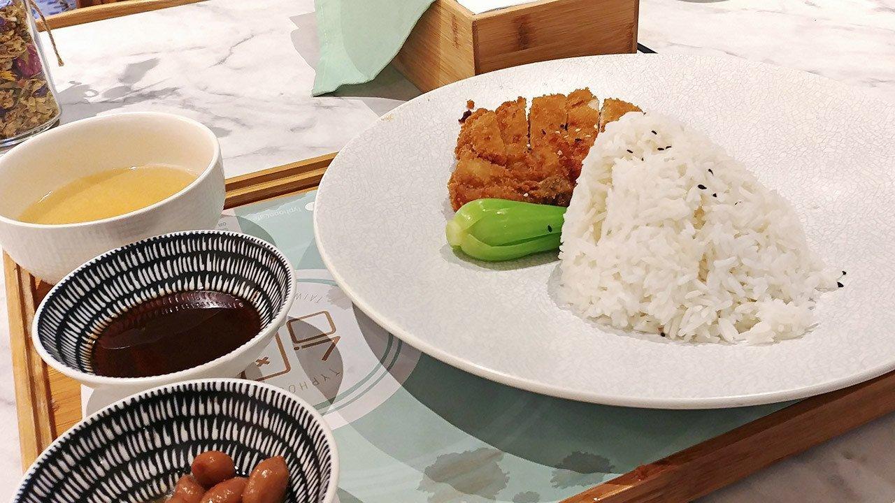 Typhoon Café - Panko Canadian Pork Chop with Sauce and Rice.