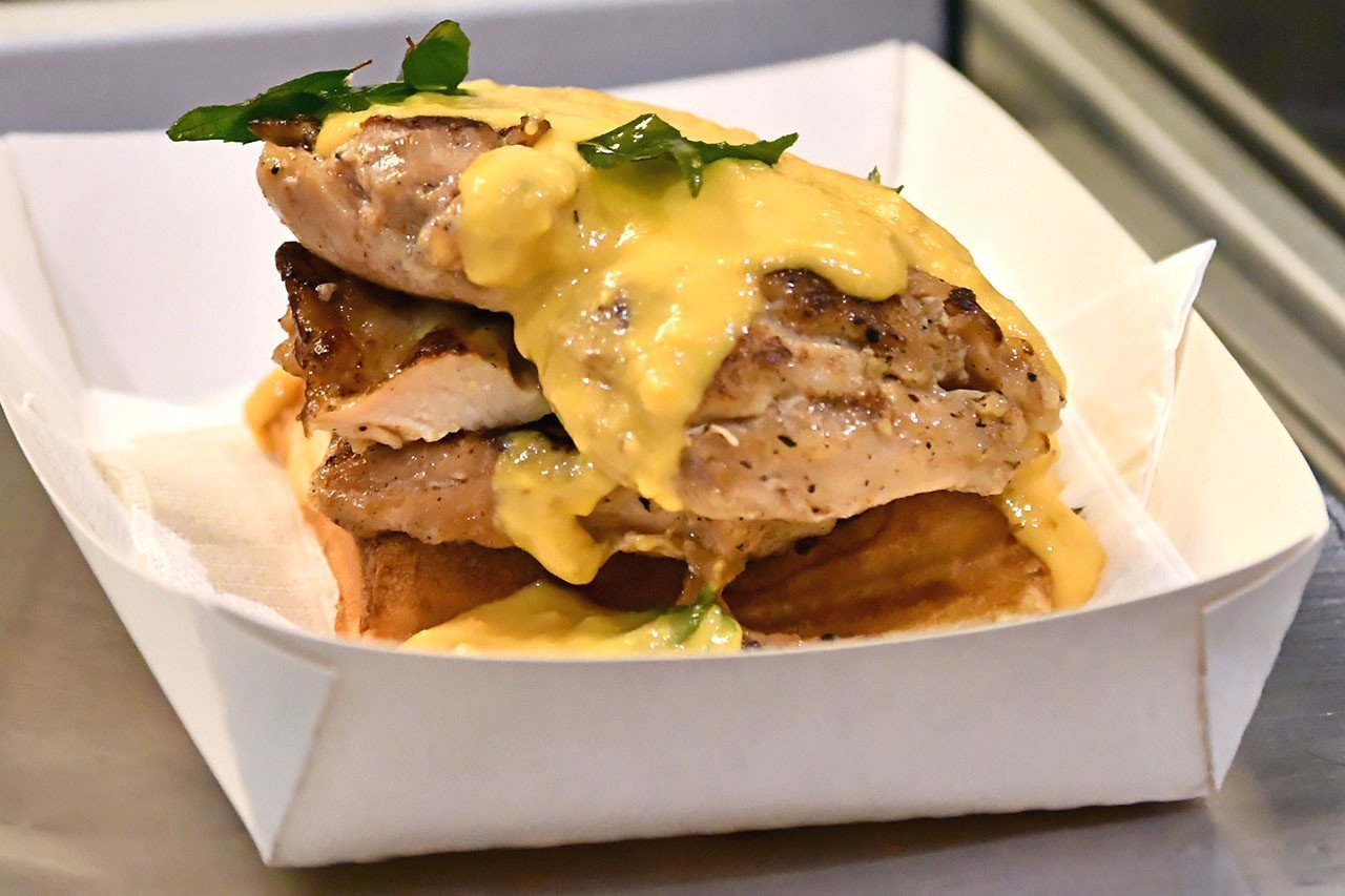 Salted Egg Chicken with Mini Belgian Waffle