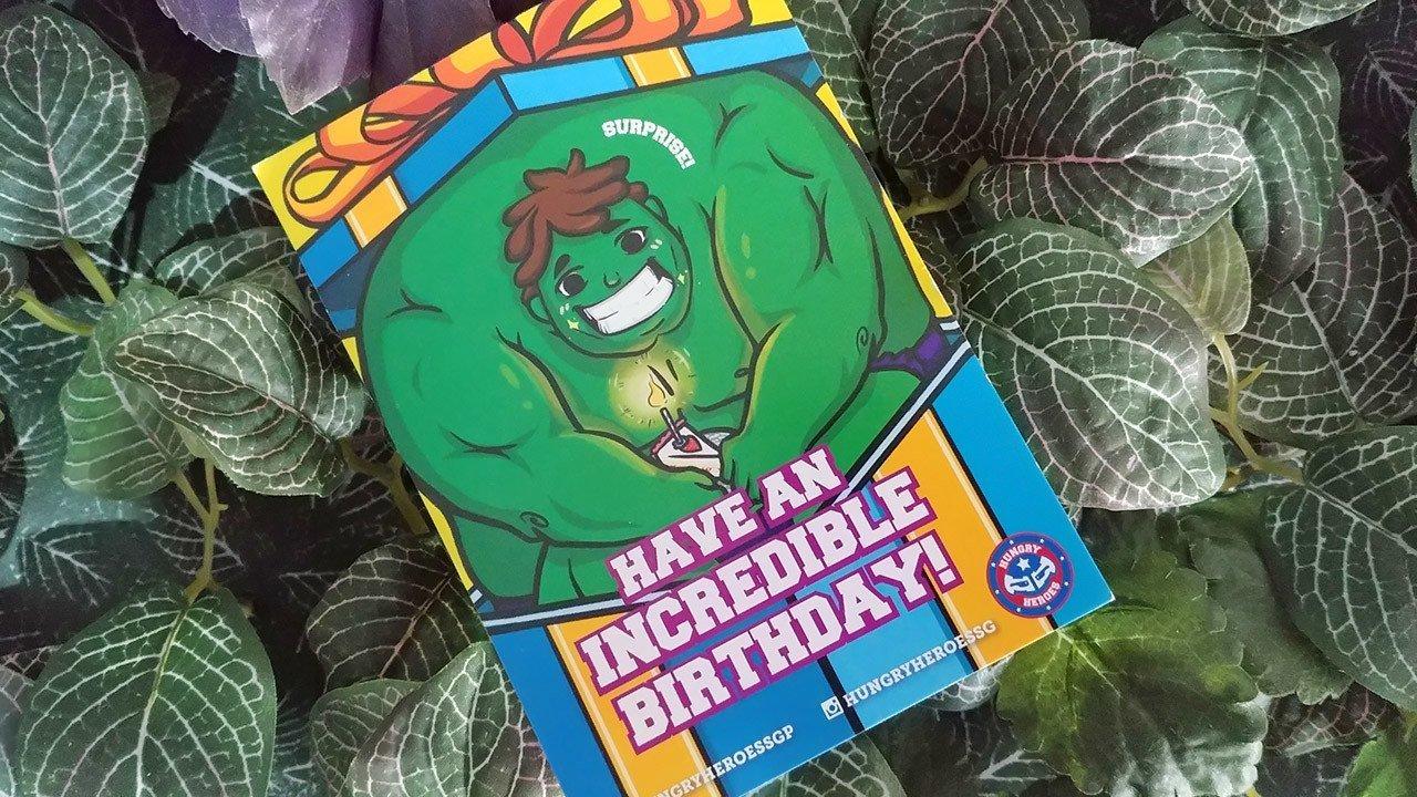 Hungry Heroes Birthday Postcard.