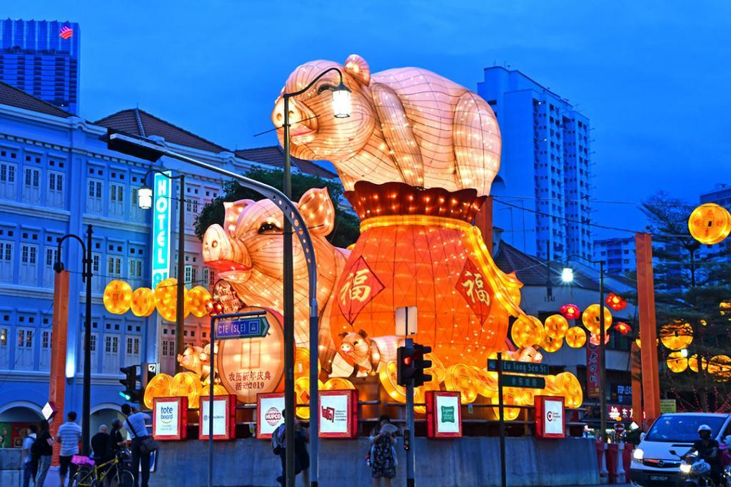 Chinatown Year of the Pig 2019 decorations