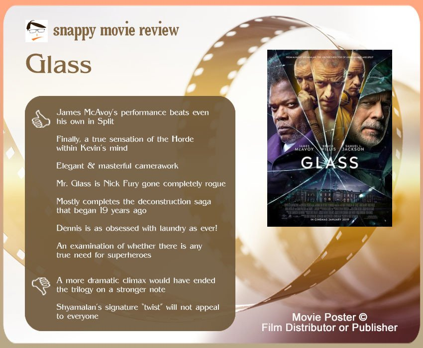 Glass (2019 Film) review: 7 thumbs up and 2 thumbs down.