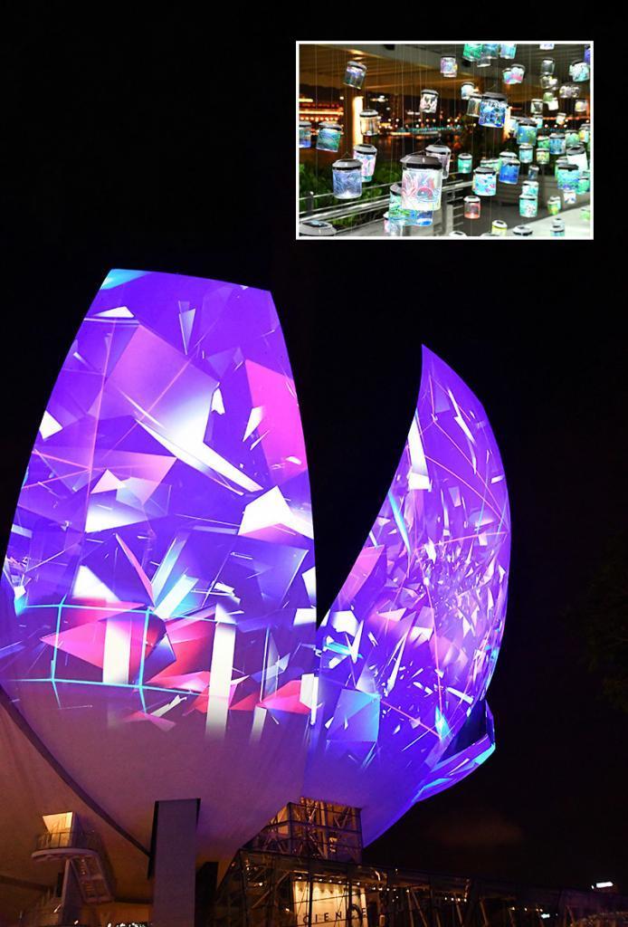 Singapore ArtScience Museum Light Show.