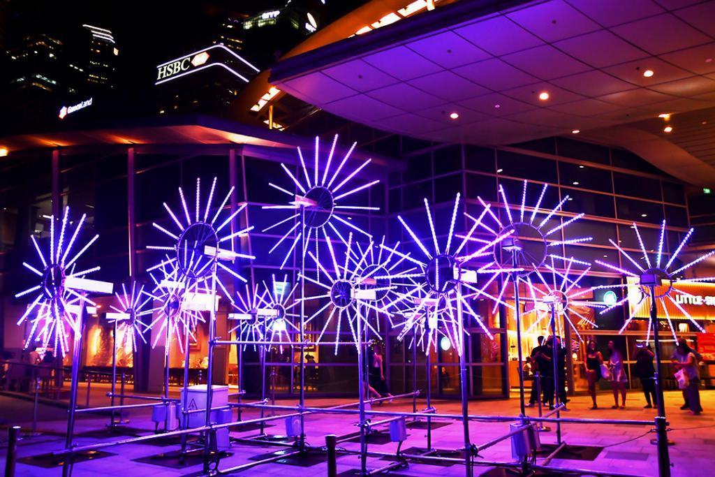Flower Clock Light Sculpture at One Fullerton, Singapore.