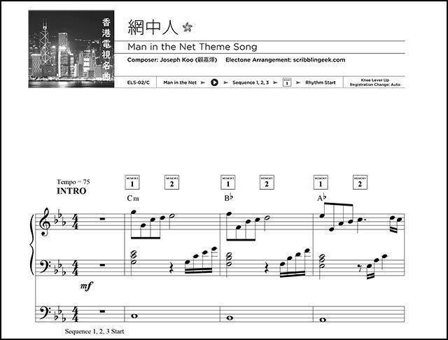 網中人電子琴琴譜下載   Free Yamaha Electone Score - Man in the Net