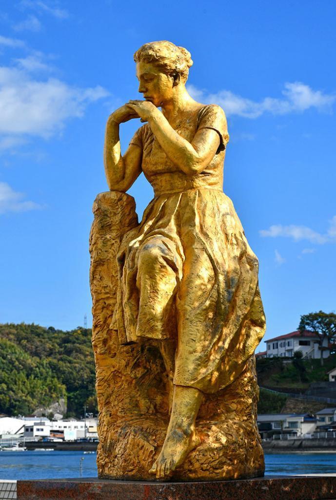 Golden Statue at Onomichi Seaside Promenade