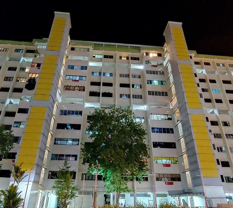 Singapore HDB Block in the evening.