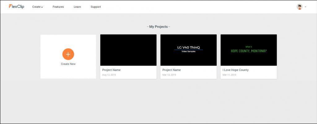 FlexClip Online Free Video Maker Create Project Screen.