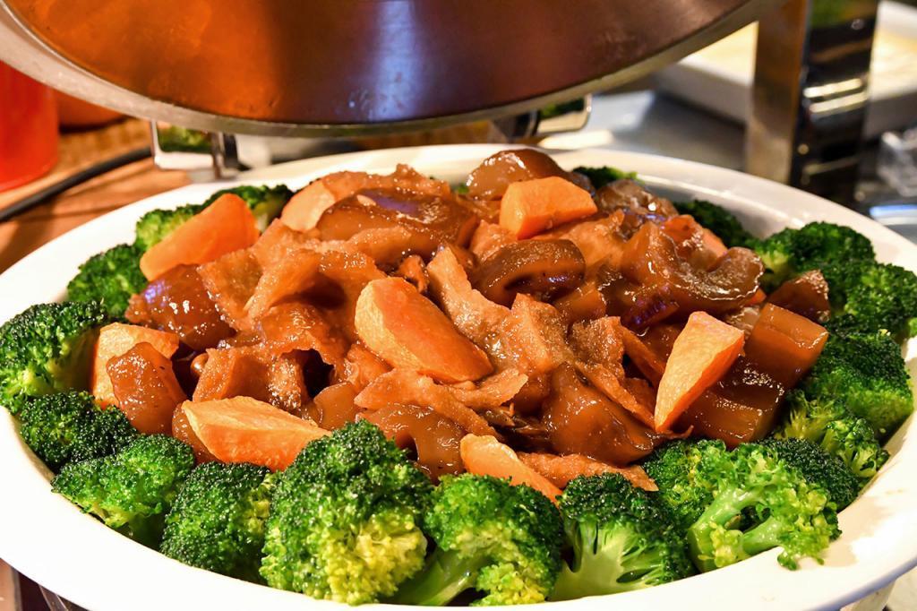 Chinese-style Braised Sea Cucumber Dish.