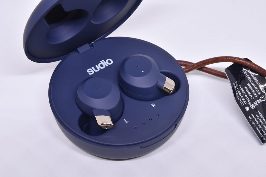Sudio Fem Classic Blue True Wireless Earphones in Charging Case.