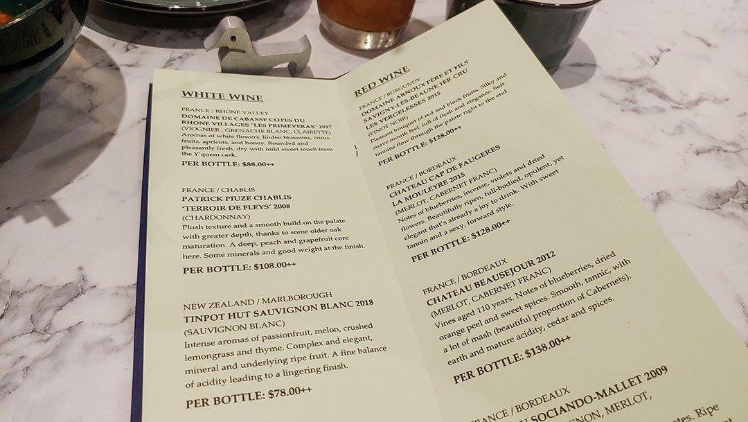 Kai Duck Takashimaya Wine List.