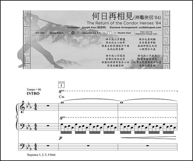 何日再相見電子琴琴譜下載 | The Return of the Condor Heroes 1983 Yamaha Electone Sheet Music.