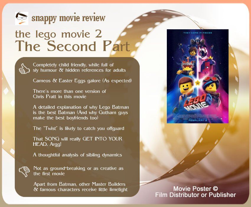 The Lego Movie 2: The Second Part Review: 7 thumbs-up and 2 thumbs-down.