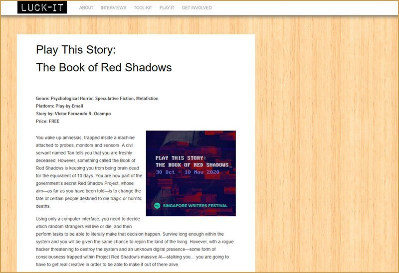 The Book of Red Shadows by Luck-It Singapore.