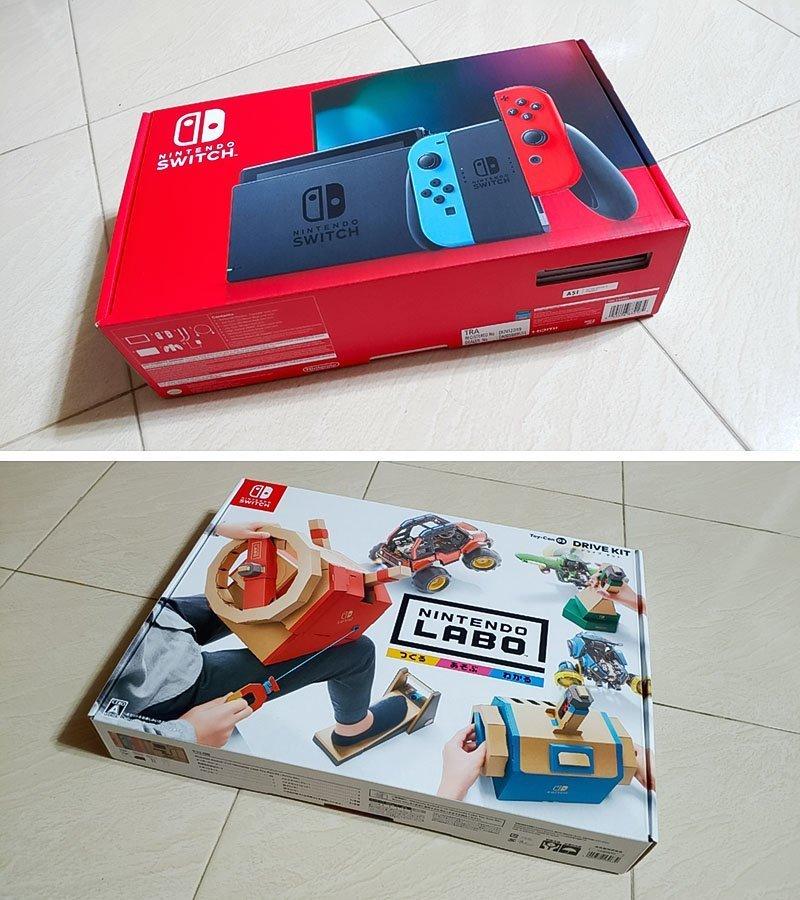 Nintendo Switch and Labo Kit.