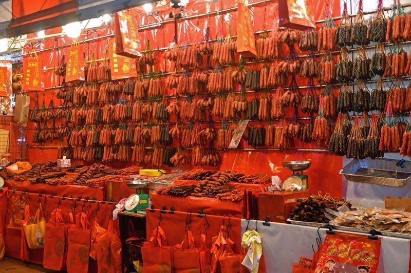 Singapore Chinatown Chinese Sausage Stall.