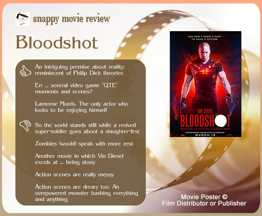 BloodShot Review: 3 thumbs-up and 5 thumbs-down.