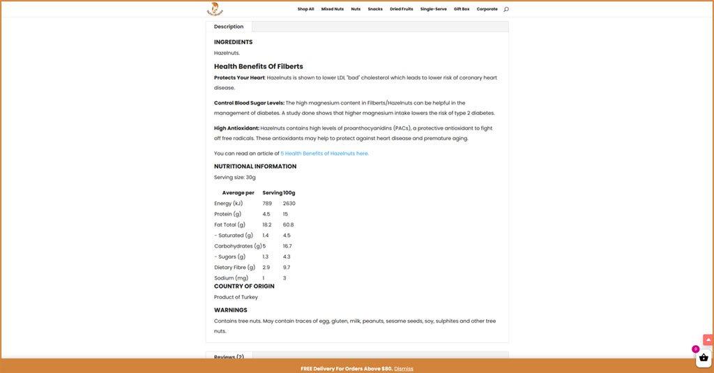 Macadamia Nuts Nutrition Information