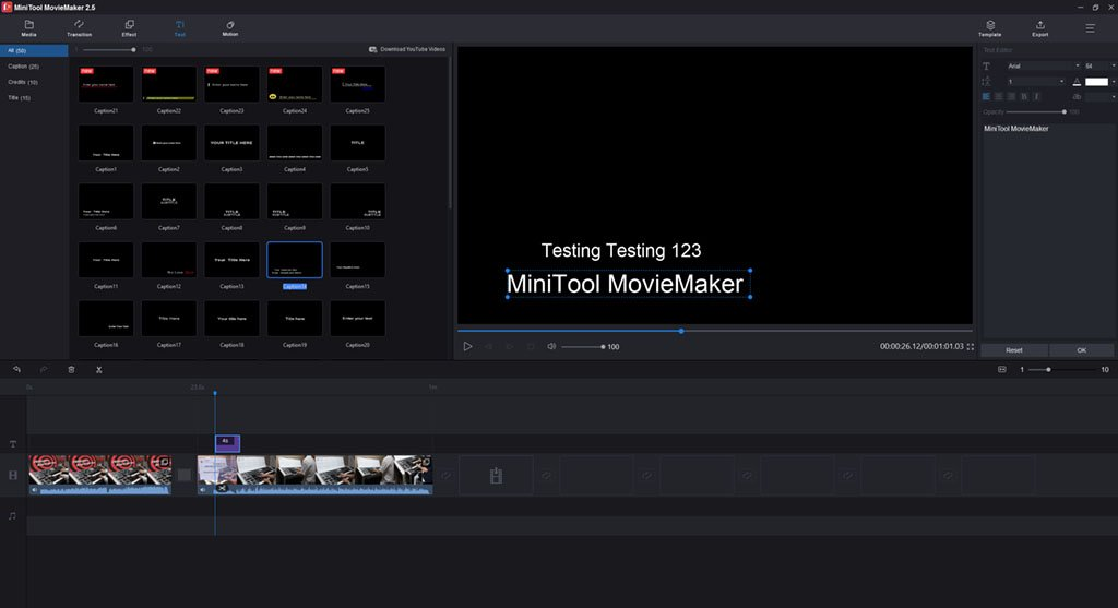 MiniTool MovieMaker Text Effects