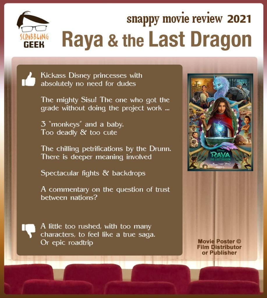 Raya and the Last Dragon Review: 6 thumbs-up and 1 thumbs-down.