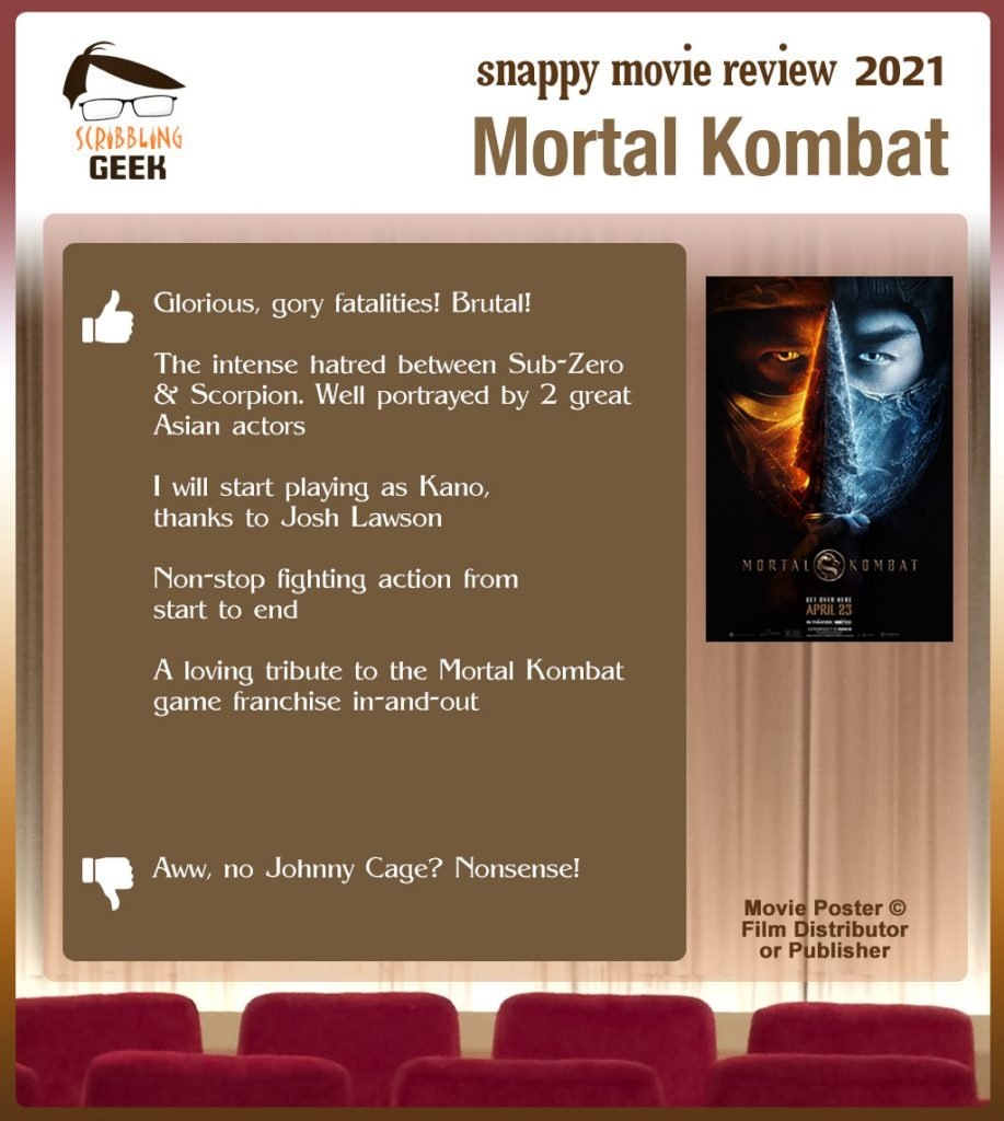 Mortal Kombat (2021) Movie Review: 5 thumbs-up and 1 thumbs-down.