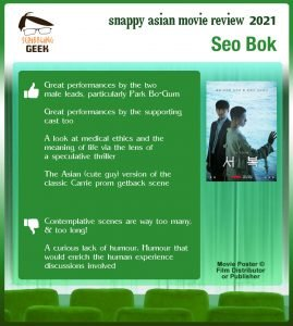 Seo Bok (서복) Movie Review: 4 thumbs-up and 2 thumbs-down.