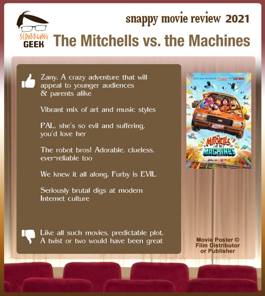 The Mitchells vs. the Machines Review: 6 thumbs-up and 1 thumbs-down.