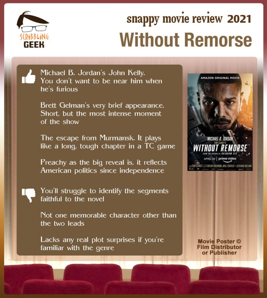 Without Remorse Review: 4 thumbs-up and 3 thumbs-down.