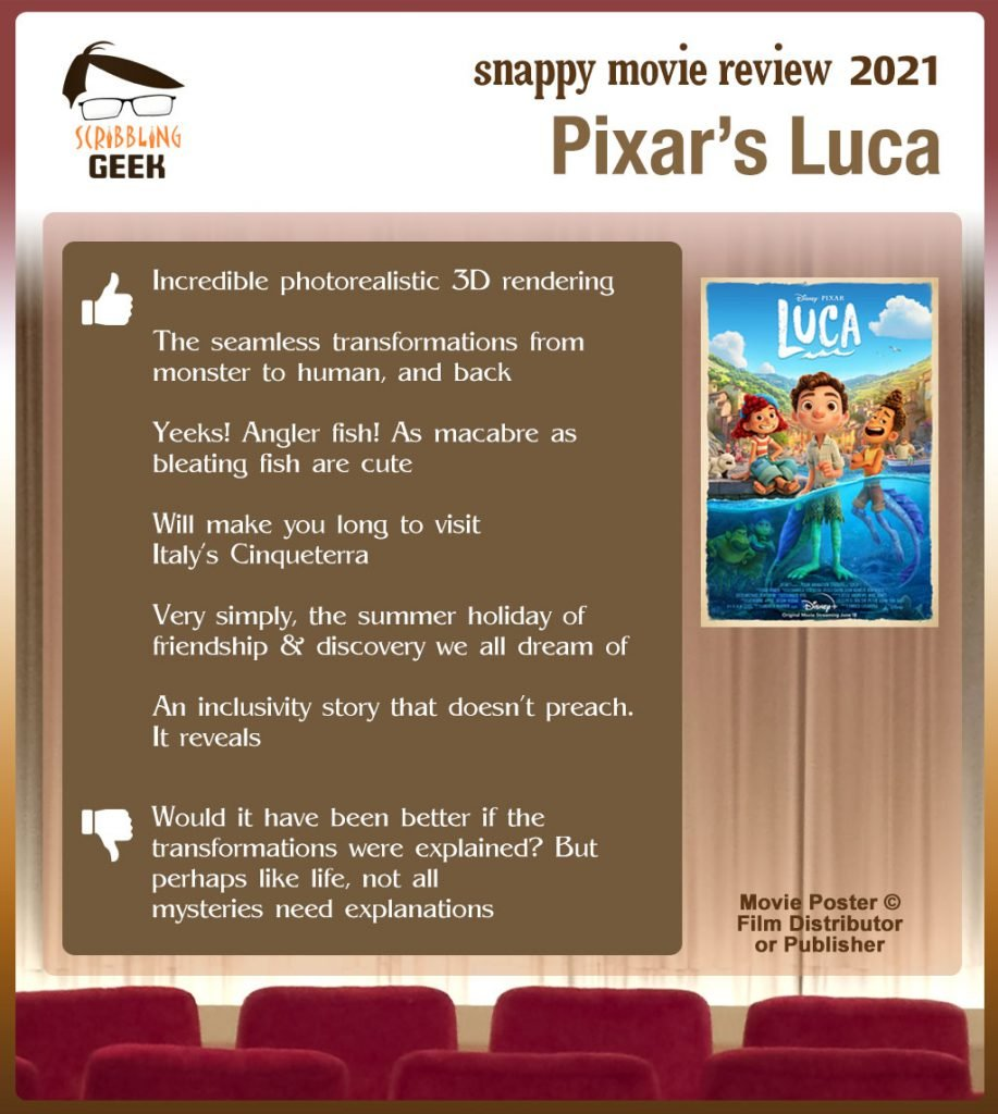 Pixar's Luca Review: 6 thumbs-up and 1 thumbs-down